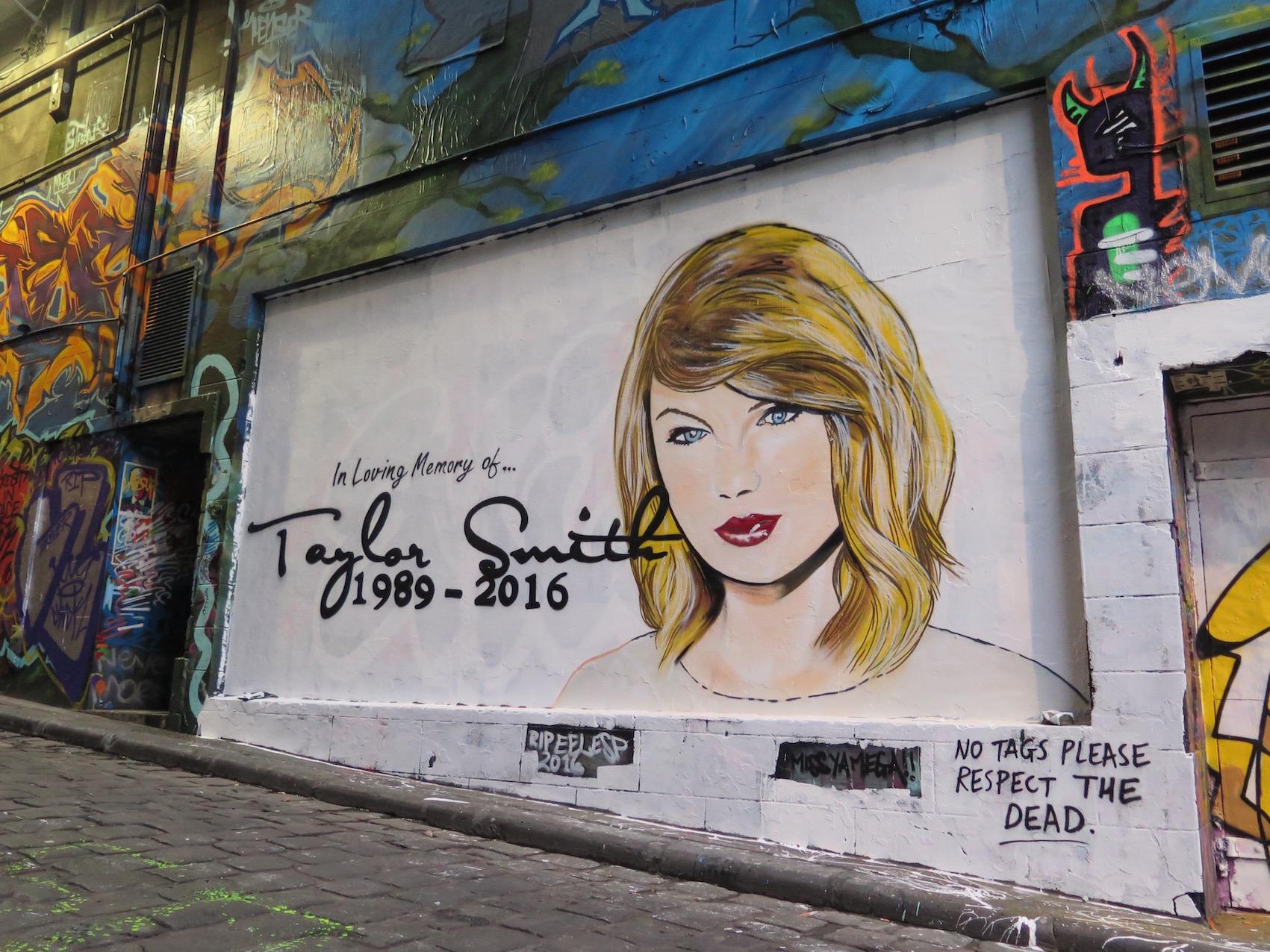 deansunshine_landofsunshine_melbourne_streetart_graffiti_Lush celebrity hosier lane 1 taylor swift 1